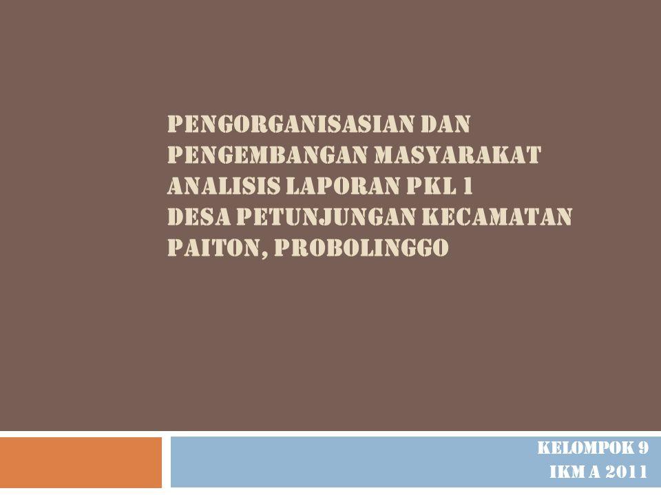PENGORGANISASIAN DAN PENGEMBANGAN MASYARAKAT ANALISIS LAPORAN PKL 1 DESA PETUNJUNGAN KECAMATAN PAITON, probolinggo
