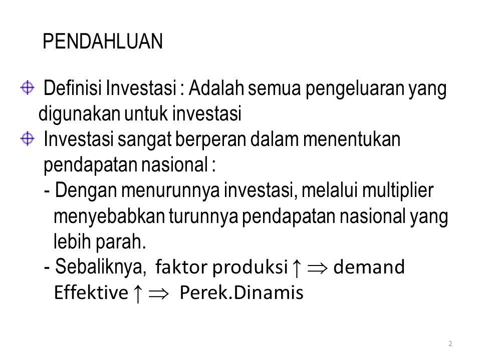 PENDAHLUAN Definisi Investasi : Adalah semua pengeluaran yang digunakan untuk investasi.