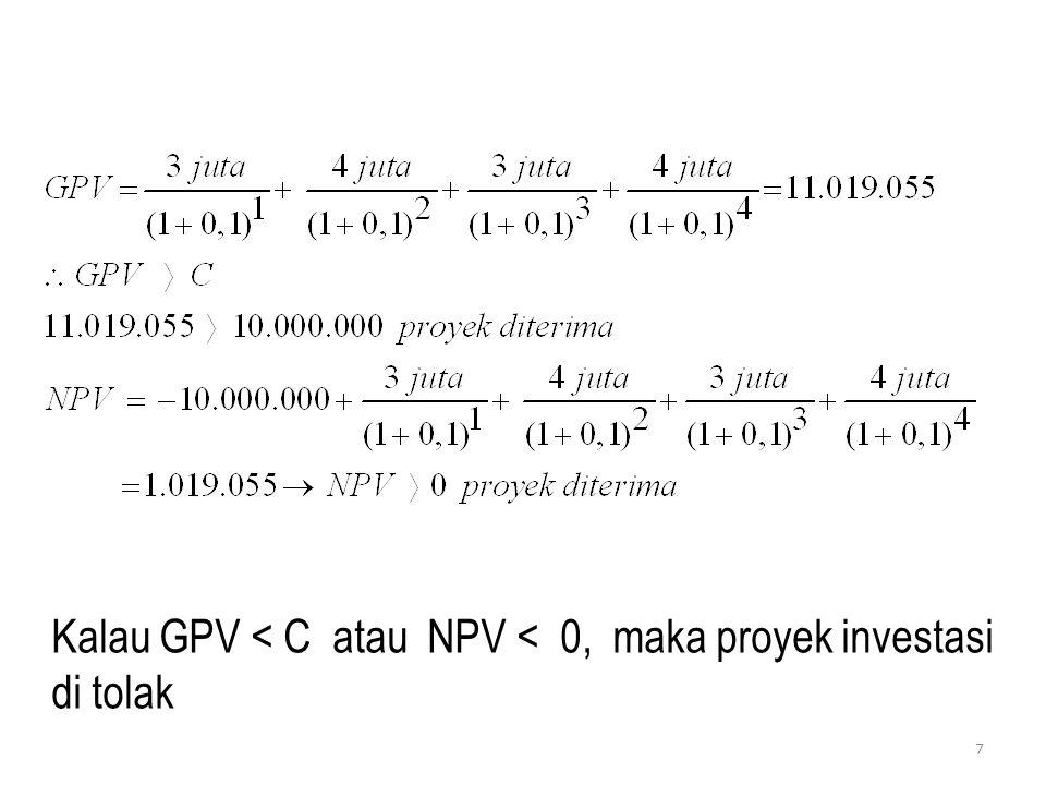Kalau GPV < C atau NPV < 0, maka proyek investasi di tolak