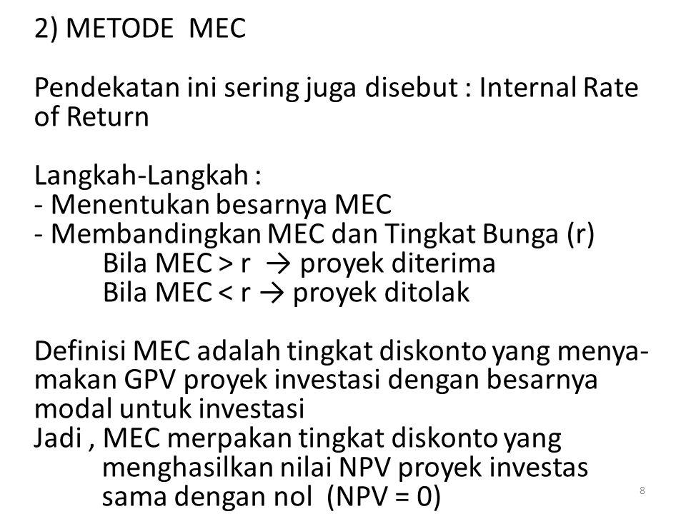 2) METODE MEC Pendekatan ini sering juga disebut : Internal Rate of Return. Langkah-Langkah : Menentukan besarnya MEC.