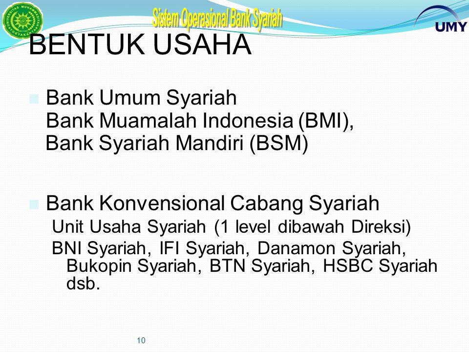 BENTUK USAHA Bank Umum Syariah Bank Muamalah Indonesia (BMI),