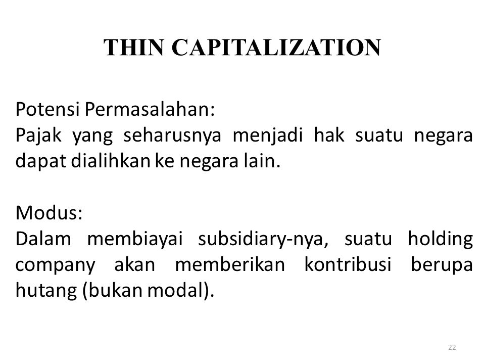 THIN CAPITALIZATION