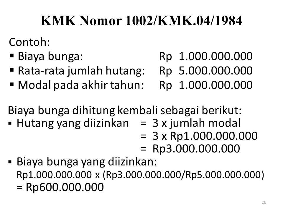 KMK Nomor 1002/KMK.04/1984 Contoh: Biaya bunga: Rp 1.000.000.000