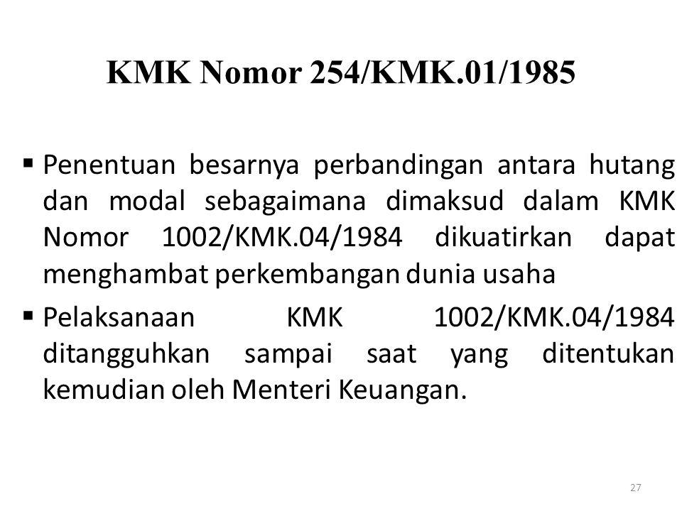 KMK Nomor 254/KMK.01/1985
