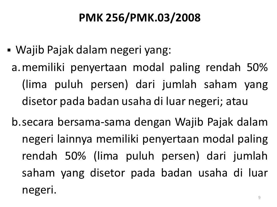 PMK 256/PMK.03/2008 Wajib Pajak dalam negeri yang:
