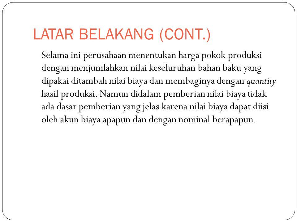 LATAR BELAKANG (CONT.)