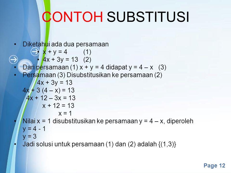 CONTOH SUBSTITUSI Diketahui ada dua persamaan x + y = 4 (1)