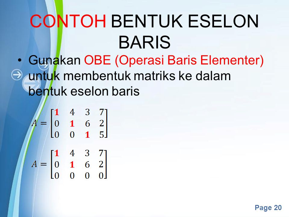 CONTOH BENTUK ESELON BARIS