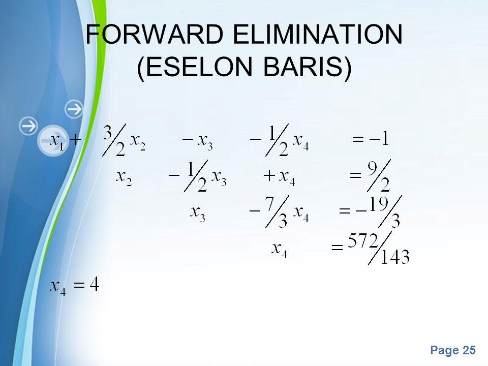 FORWARD ELIMINATION (ESELON BARIS)