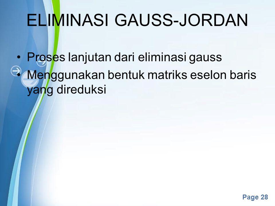 ELIMINASI GAUSS-JORDAN