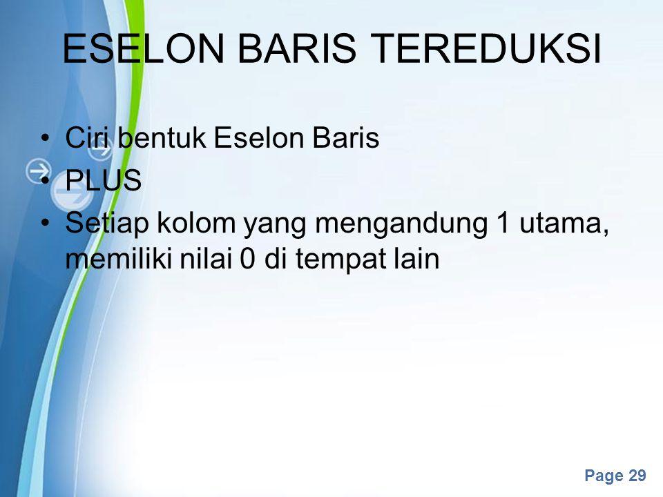 ESELON BARIS TEREDUKSI