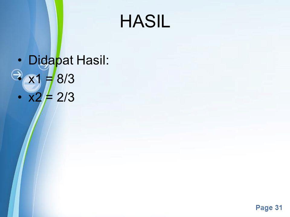 HASIL Didapat Hasil: x1 = 8/3 x2 = 2/3