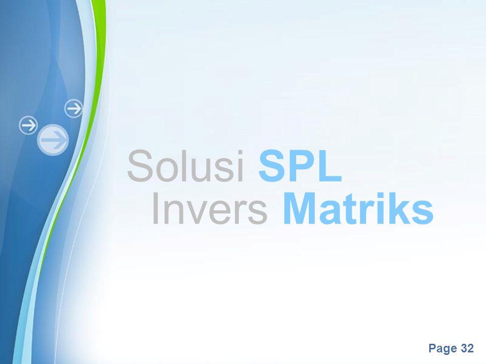 Solusi SPL Invers Matriks