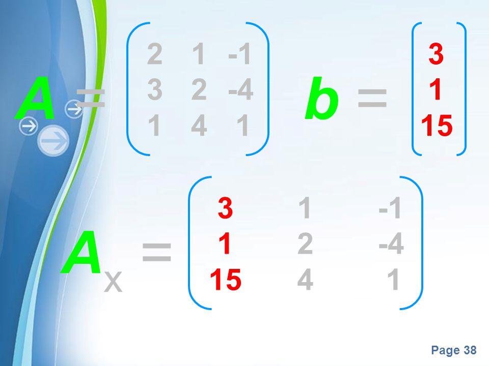 2 1 -1 3 2 -4 1 4 1 3 1 15 A = b = 3 1 -1 1 2 -4 15 4 1 Ax =