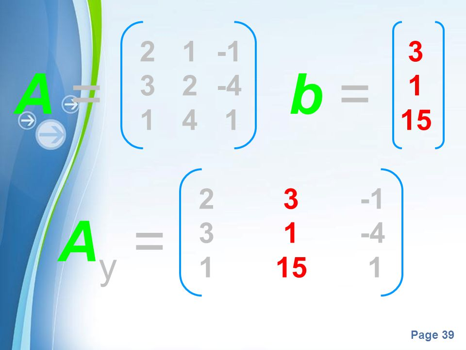 2 1 -1 3 2 -4 1 4 1 3 1 15 A = b = 2 3 -1 3 1 -4 1 15 1 Ay =