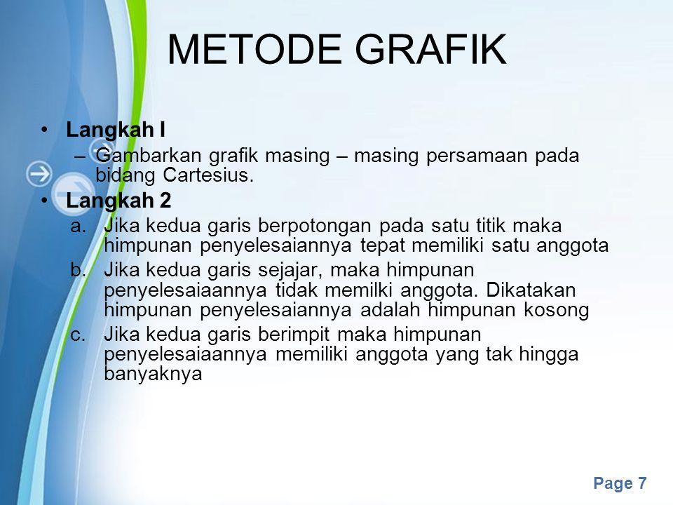 METODE GRAFIK Langkah I Langkah 2