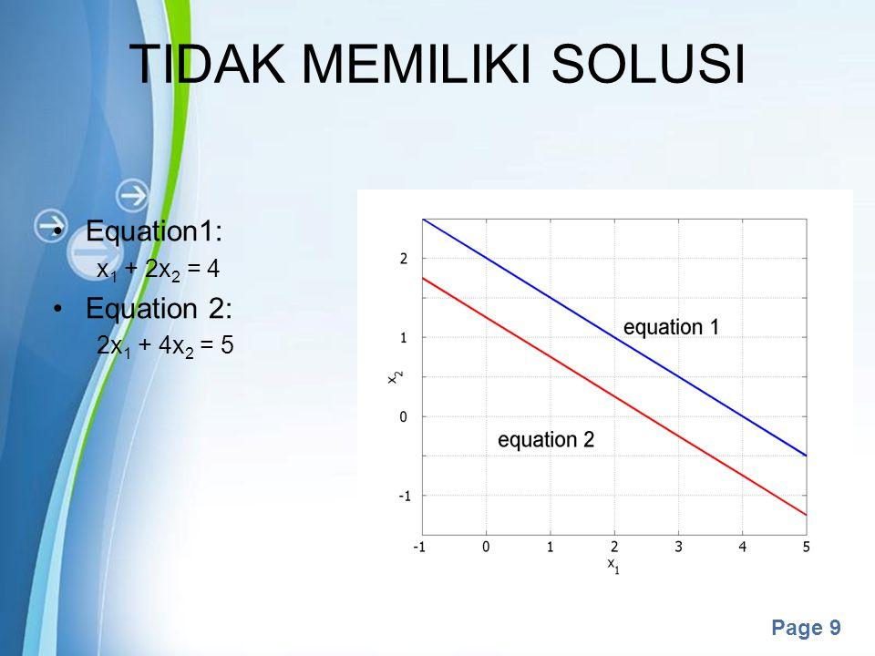 TIDAK MEMILIKI SOLUSI Equation1: Equation 2: x1 + 2x2 = 4