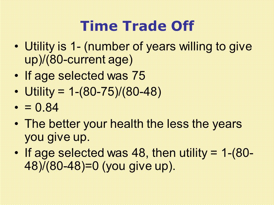 Time Trade Off Utility is 1- (number of years willing to give up)/(80-current age) If age selected was 75.