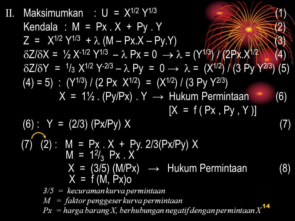 II. Maksimumkan : U = X1/2 Y1/3 (1) Kendala : M = Px . X + Py . Y (2)