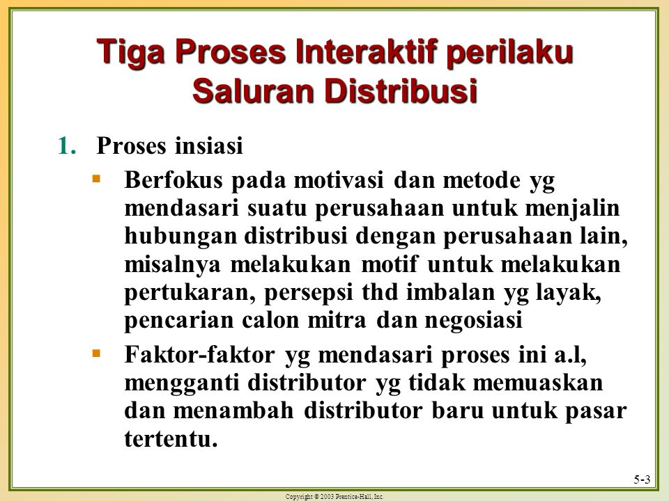 Tiga Proses Interaktif perilaku Saluran Distribusi