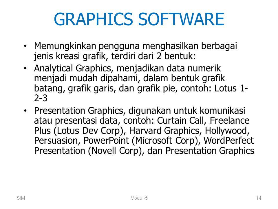 GRAPHICS SOFTWARE Memungkinkan pengguna menghasilkan berbagai jenis kreasi grafik, terdiri dari 2 bentuk: