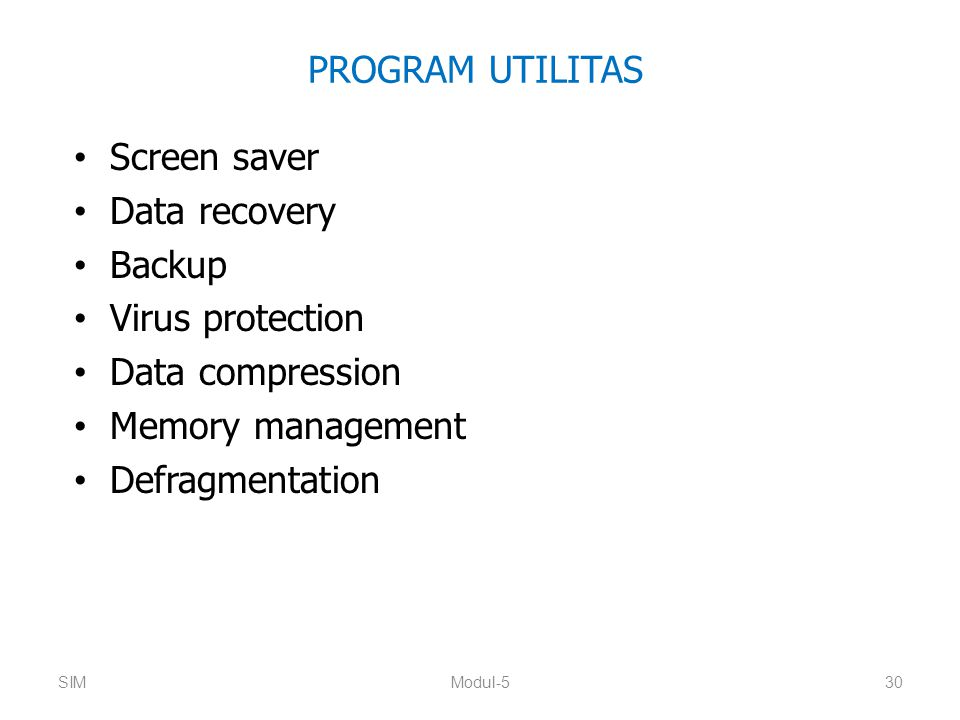 PROGRAM UTILITAS Screen saver Data recovery Backup Virus protection