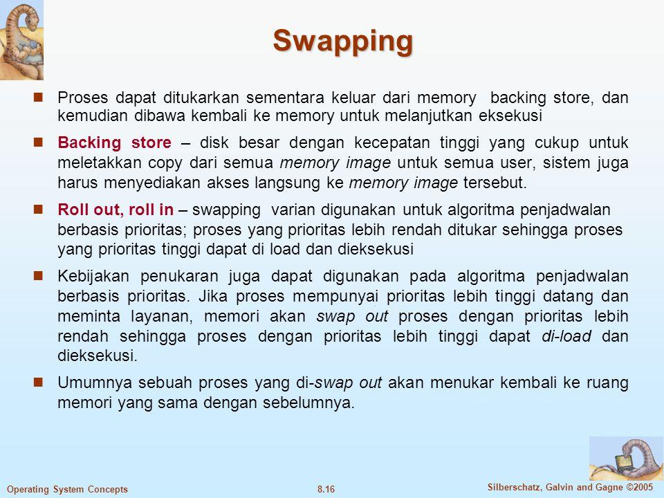 Swapping Proses dapat ditukarkan sementara keluar dari memory backing store, dan kemudian dibawa kembali ke memory untuk melanjutkan eksekusi.