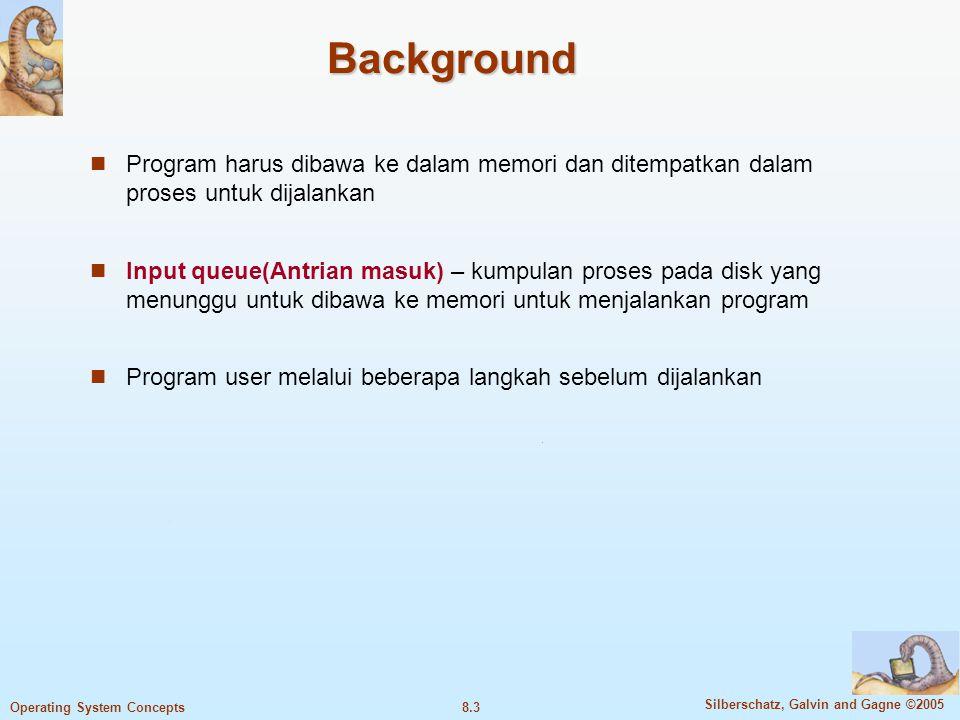 Background Program harus dibawa ke dalam memori dan ditempatkan dalam proses untuk dijalankan.