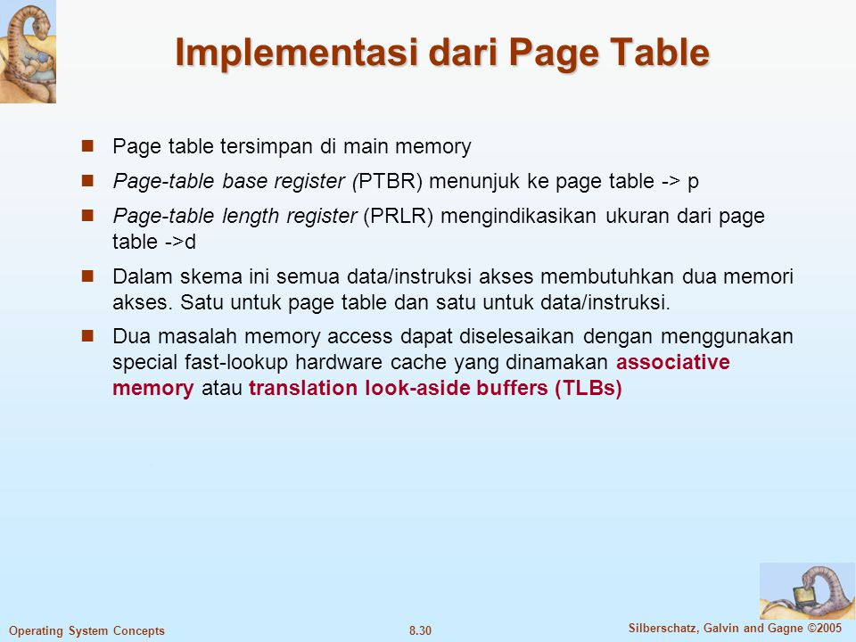 Implementasi dari Page Table