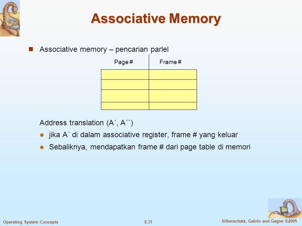 Associative Memory Associative memory – pencarian parlel