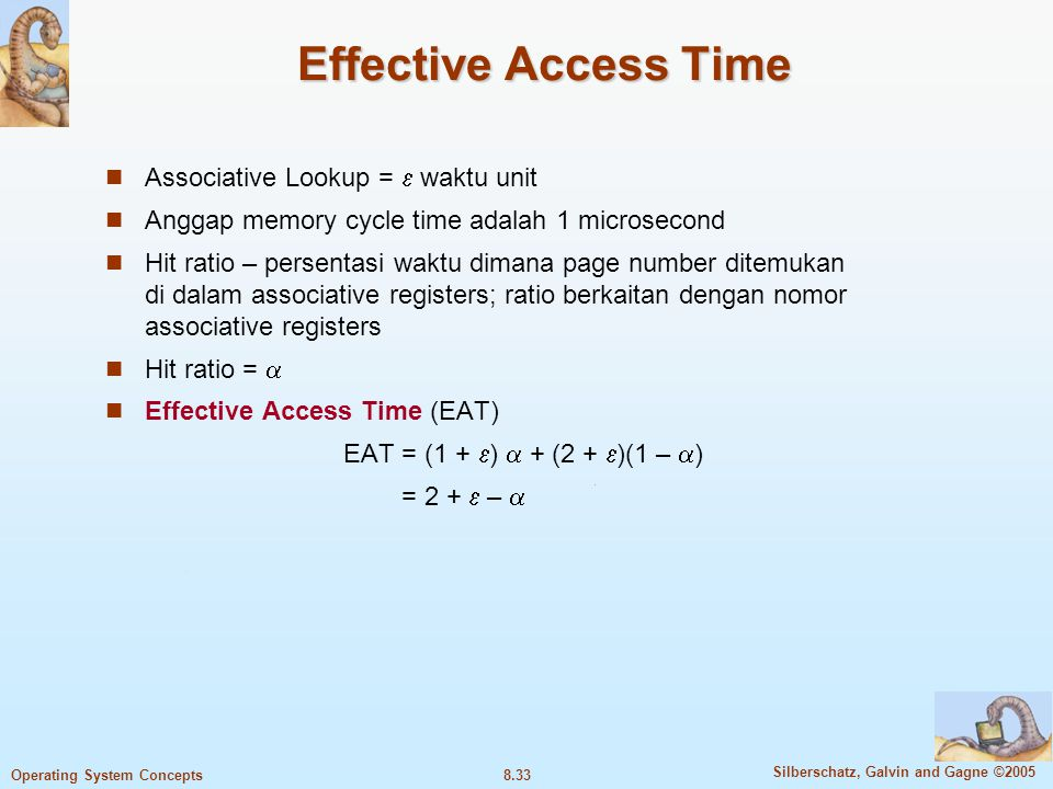 Effective Access Time Associative Lookup =  waktu unit