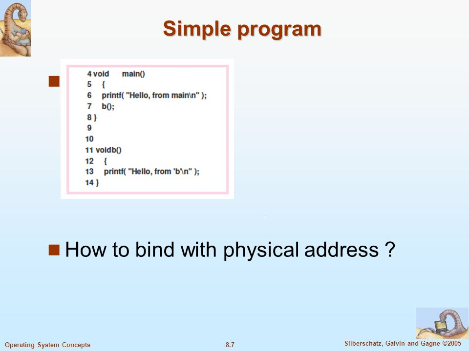 Simple program Sss How to bind with physical address