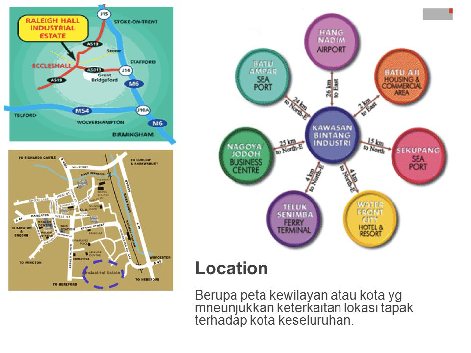 Location Berupa peta kewilayan atau kota yg mneunjukkan keterkaitan lokasi tapak terhadap kota keseluruhan.