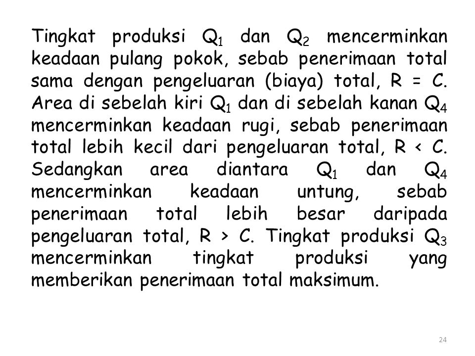 Tingkat produksi Q1 dan Q2 mencerminkan keadaan pulang pokok, sebab penerimaan total sama dengan pengeluaran (biaya) total, R = C.