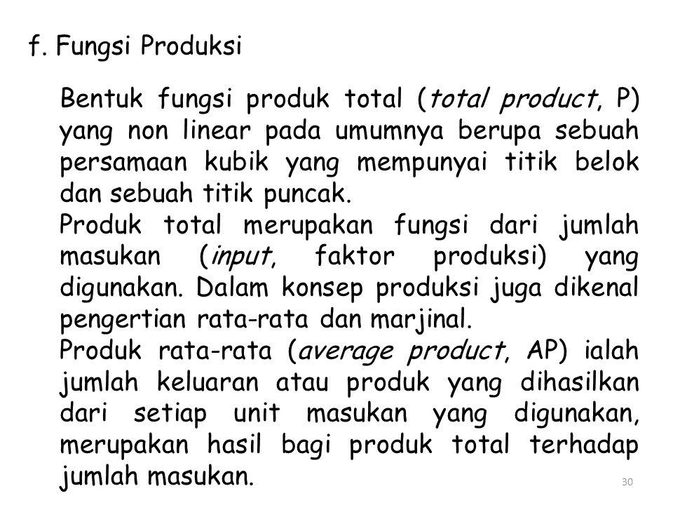 f. Fungsi Produksi