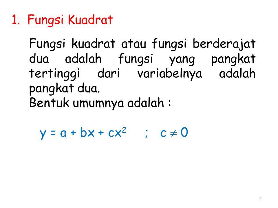 Fungsi Kuadrat Fungsi kuadrat atau fungsi berderajat dua adalah fungsi yang pangkat tertinggi dari variabelnya adalah pangkat dua.
