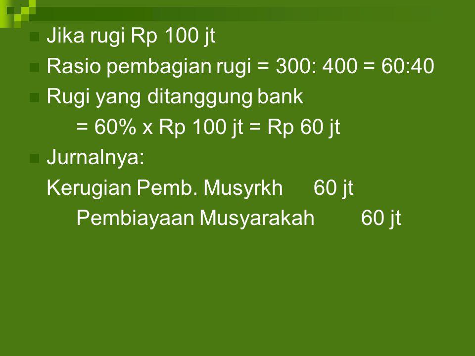 Jika rugi Rp 100 jt Rasio pembagian rugi = 300: 400 = 60:40. Rugi yang ditanggung bank. = 60% x Rp 100 jt = Rp 60 jt.