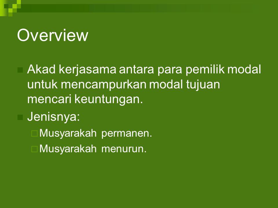 Overview Akad kerjasama antara para pemilik modal untuk mencampurkan modal tujuan mencari keuntungan.
