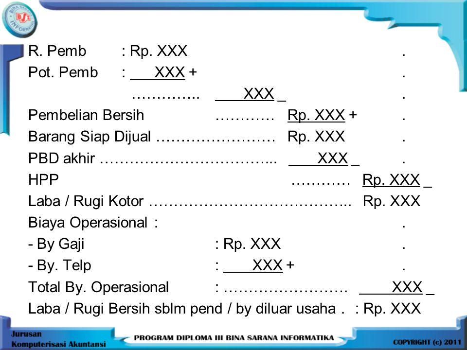 R. Pemb : Rp. XXX . Pot. Pemb : XXX + . ………….. XXX _ . Pembelian Bersih ………… Rp. XXX + .