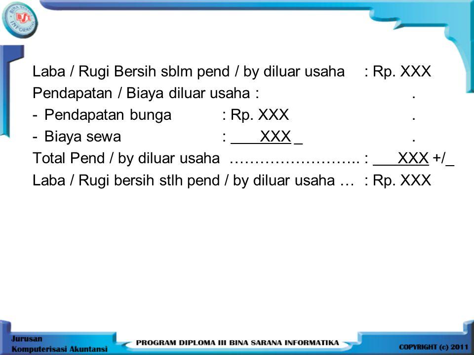 Laba / Rugi Bersih sblm pend / by diluar usaha : Rp. XXX