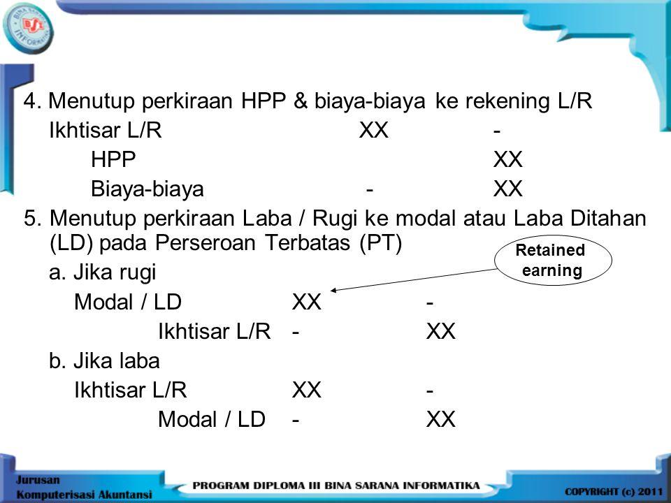 4. Menutup perkiraan HPP & biaya-biaya ke rekening L/R