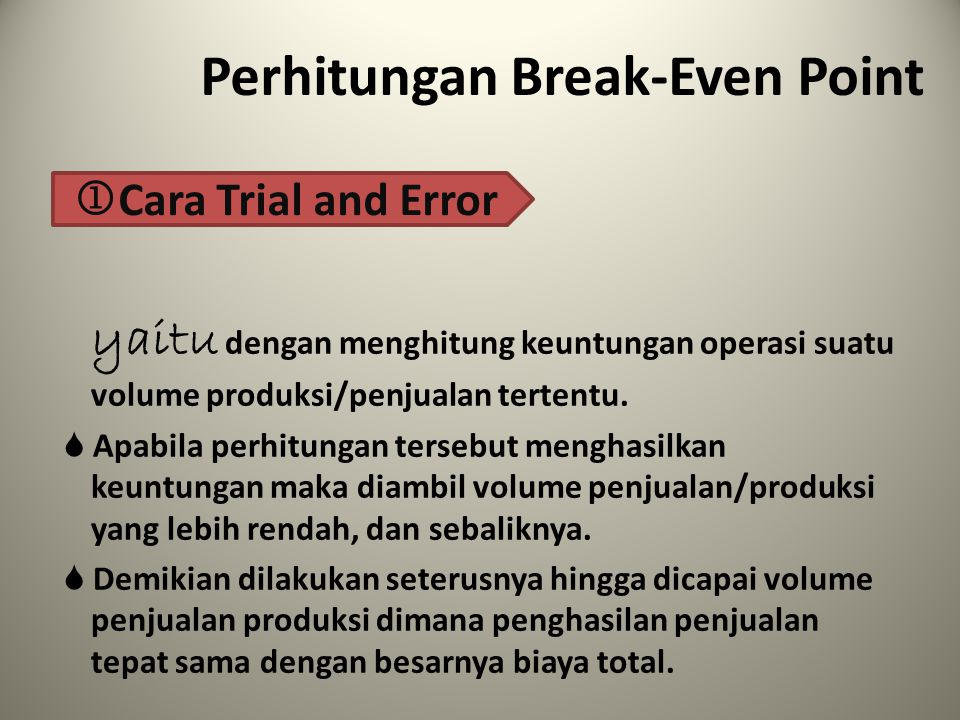 Perhitungan Break-Even Point