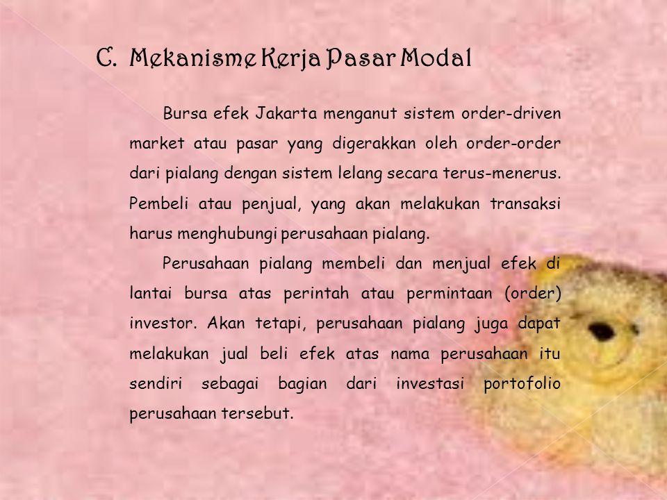 C. Mekanisme Kerja Pasar Modal