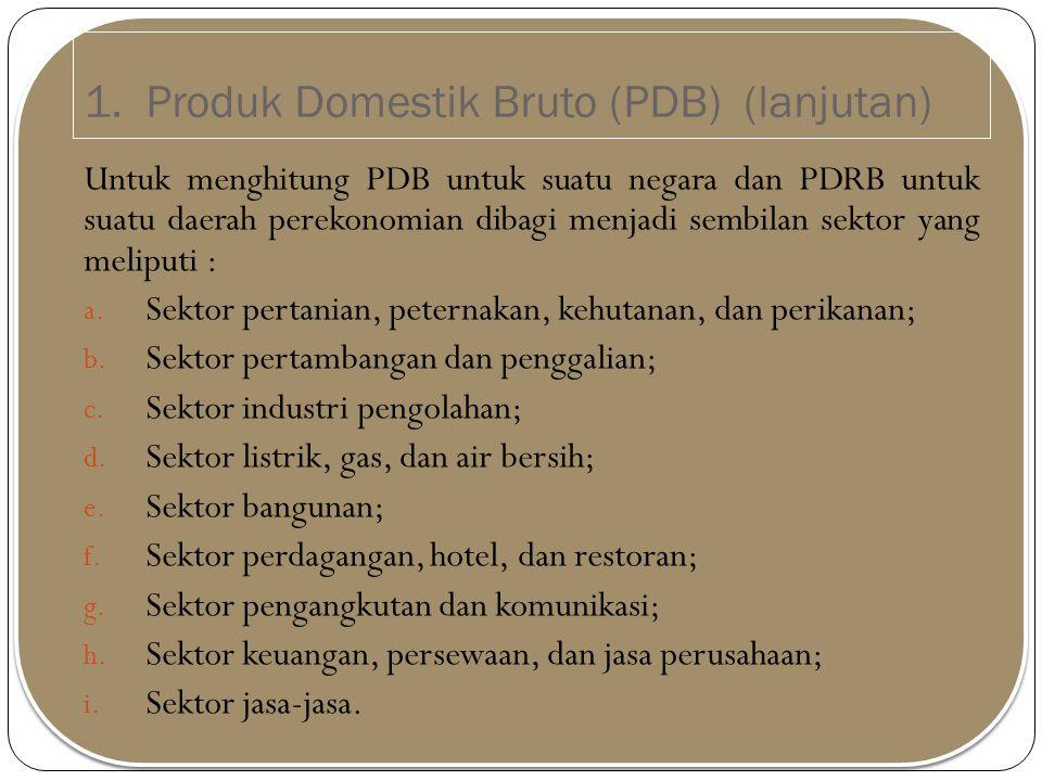 1. Produk Domestik Bruto (PDB) (lanjutan)