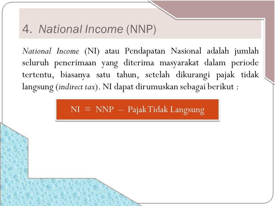 NI = NNP – Pajak Tidak Langsung