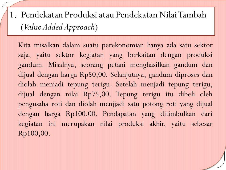 1. Pendekatan Produksi atau Pendekatan Nilai Tambah (Value Added Approach)