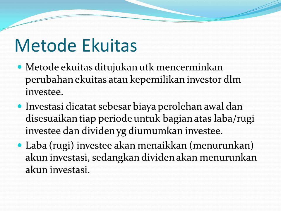 Metode Ekuitas Metode ekuitas ditujukan utk mencerminkan perubahan ekuitas atau kepemilikan investor dlm investee.