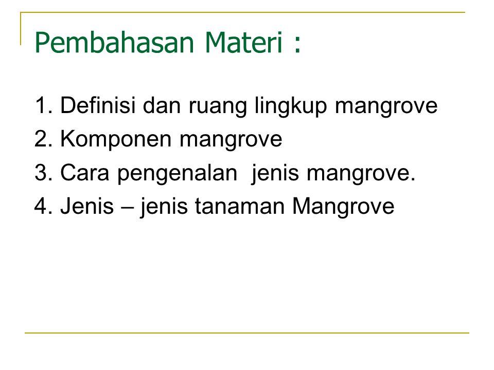 Pembahasan Materi : 1. Definisi dan ruang lingkup mangrove
