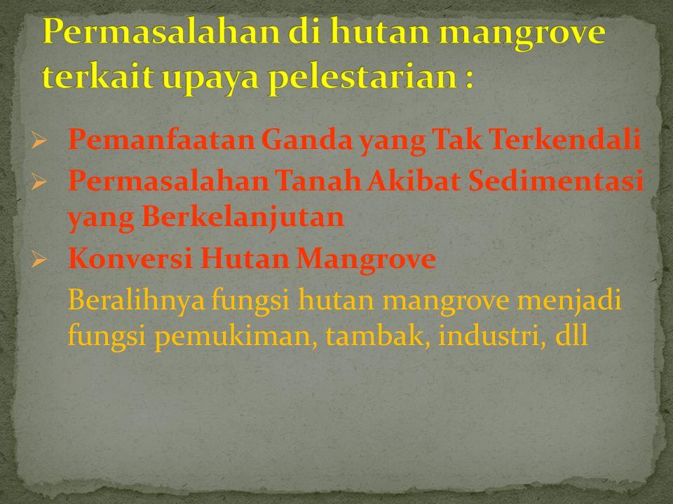 Permasalahan di hutan mangrove terkait upaya pelestarian :