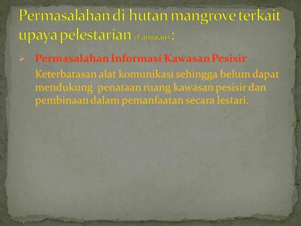 Permasalahan di hutan mangrove terkait upaya pelestarian (Lanjutan) :
